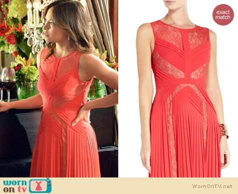 Wornontv Cat S Coral Pleated Lace Inset Dress On Beauty