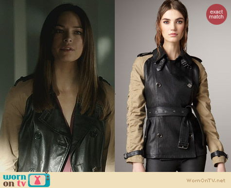 BATB Fashion: Burberry Brit Canvas Sleeve Leather Trench Coat worn by Kristin Kreuk