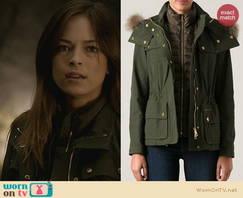 BATB Fashion: Burberry Brit Funnel Neck Jacket in Green worn by Kristen Kreuk