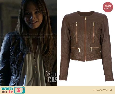 BATB Fashion: Michael Kors Distressed Leather Jacket worn by Kristin Keuk