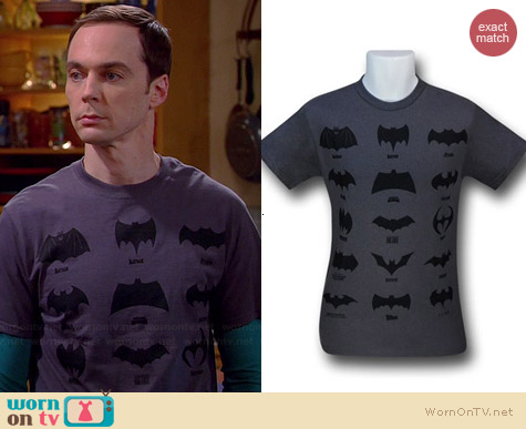 Batman Logos Through the Ages tee worn by Sheldon Cooper on The Big Bang Theory
