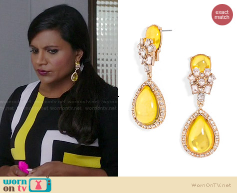 BaubleBar Jewel Swing Drops Earrings worn by Mindy Kaling on The Mindy Project