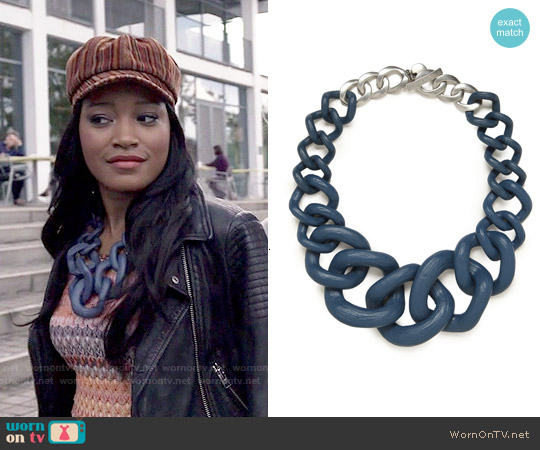 Baublebar Jurassic Collar Necklace in Blue worn by Zayday Williams on Scream Queens