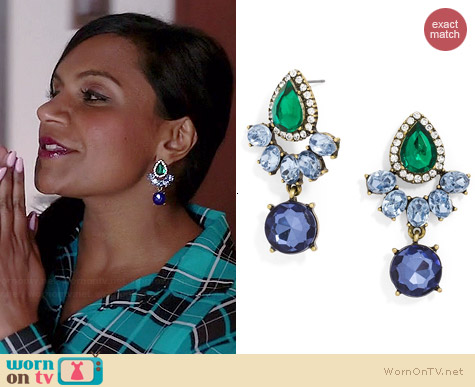 BaubleBar Rumba Gem Drops Earrings worn by Mindy Kaling on The Mindy Project