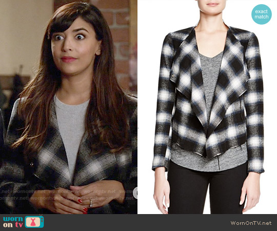 BB Dakota Draped Plaid Jacket worn by Hannah Simone on New Girl