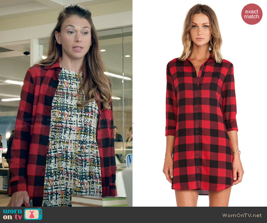 BB Dakota Suzett Buffalo Plaid Shirtdress worn by Liza Miller on Younger