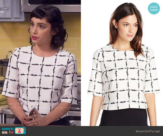 Bcbgeneration Checked Back Zip Top worn by  Molly Ephraim on Last Man Standing