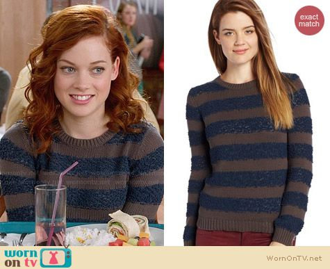 Bcbgeneration Textured Stripe Sweater worn by Jane Levy on Suburgatory
