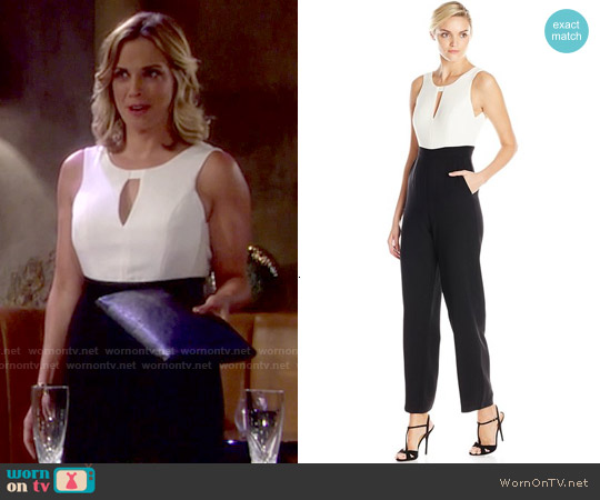 Bcbgeneration Two-Tone Wide-Leg Jumpsuit worn by Kelly Sullivan on The Young & the Restless