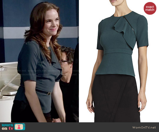 bcbgmaxazria 'Cadie' Zippered-Ruffle Peplum Top in Fern worn by Danielle Panabaker on The Flash
