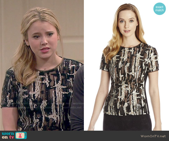 Bcbgmaxazria Larson Brushstroke Sequin Top worn by Taylor Spreitler on Melissa & Joey