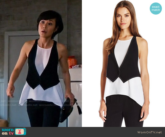 Bcbgmaxazria Marcelle Tank with Attached Vest worn by Yunjin Kim on Mistresses