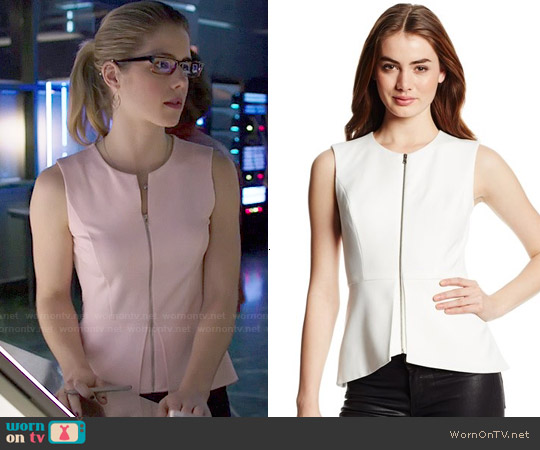 Bcbgmaxazria Abrielle Peplum Top worn by Emily Bett Rickards on Arrow