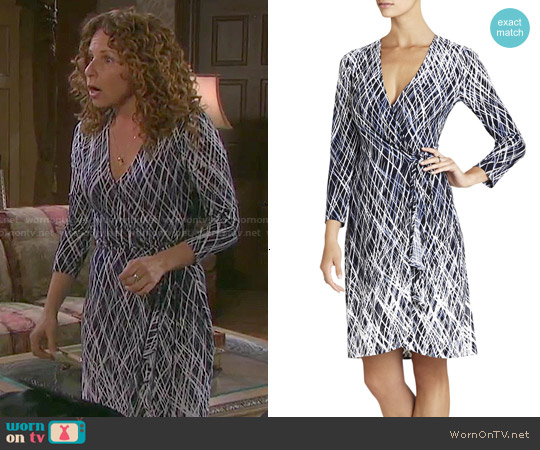 Bcbgmaxazria Adele Dress in Dark Navy Combo worn by Meredith Scott Lynn on Days of our Lives