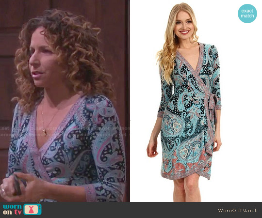 Bcbgmaxazria Adele Dress in Tahiti Blue worn by Meredith Scott Lynn on Days of our Lives