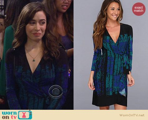 Bcbgmaxazria Adele Wrap Dress in Teal Combo worn by Cristin Milioti
