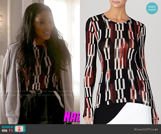 Bcbgmaxazria 'Agda' Top in Poppy Combo worn by Keke Palmer on Scream Queens