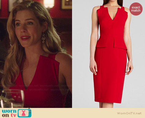 Bcbgmaxazria Alena Dress in Red worn by Emily Bett Rickards on Arrow