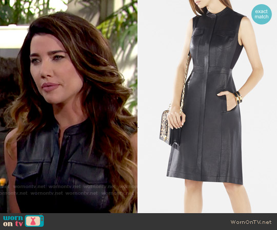 Bcbgmaxazria Allexandria Faux Leather Dress worn by Jacqueline MacInnes Wood on The Bold & the Beautiful