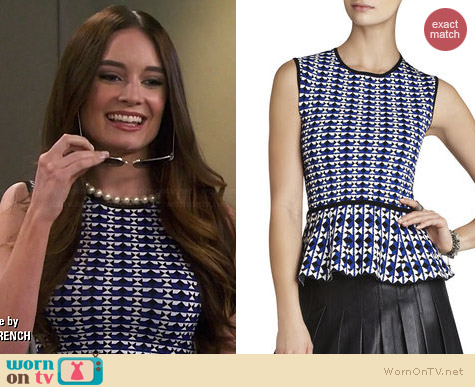 Bcbgmaxazria Alyona Geometric Jacquard Peplum Top worn by Mallory Jansen on Young & Hungry