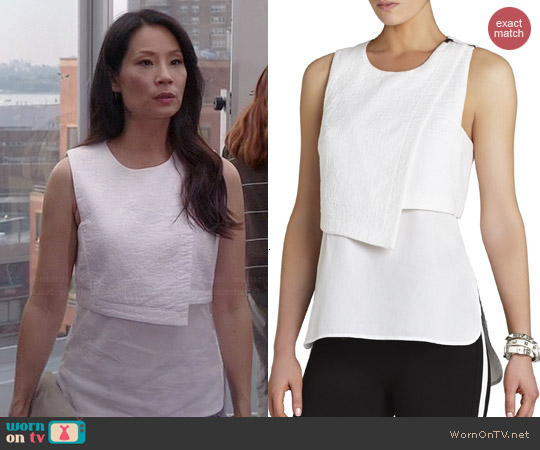 Bcbgmaxazria Alyssa Asymmetrical Overlay Top worn by Joan Watson on Elementary