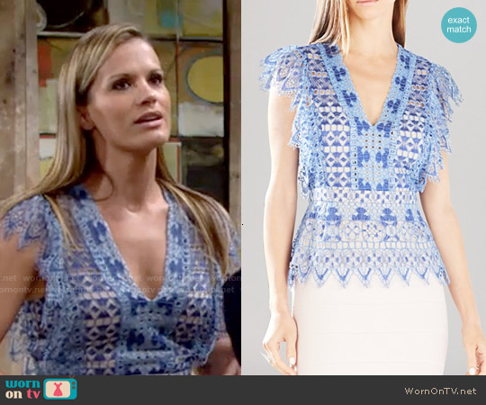 Bcbgmaxazria Ambar Lace Top worn by Melissa Claire Egan on The Young & the Restless
