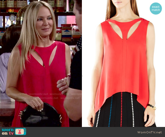 Bcbgmaxazria Anastazia Top in Red Berry worn by Sharon Case on The Young & the Restless