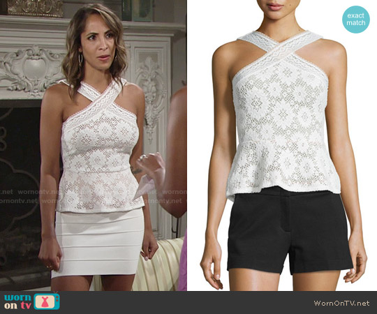 Bcbgmaxazria Annica Crochet top worn by Christel Khalil on The Young & the Restless