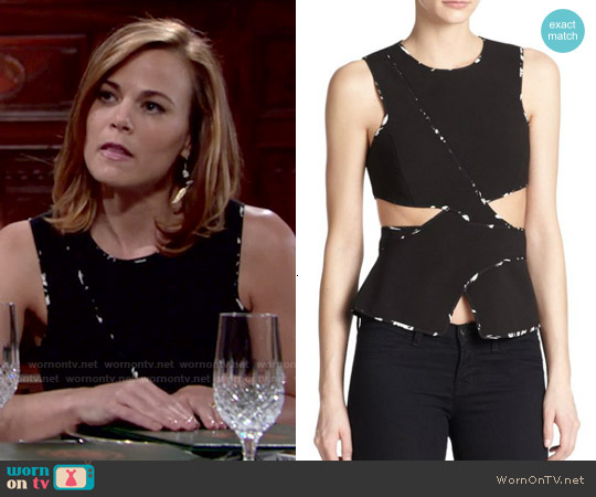 Bcbgmaxazria Arianah Cutout Peplum Top worn by Gina Tognoni on The Young & the Restless