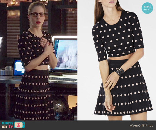 Bcbgmaxazria Aryen Polka Dot Crop Top and Gloria Skirt worn by Emily Bett Rickards on Arrow