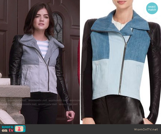 Bcbgmaxazria Augie Denim & Leather Jacket worn by Lucy Hale on PLL