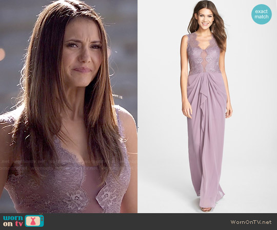Bcbgmaxazria Brandy Gown in Dark Lilac Mauve worn by Nina Dobrev on The Vampire Diaries