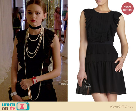 Bcbgmaxazria Britt Pleated Ruffle Dress worn by Ciara Bravo on Red Band Society