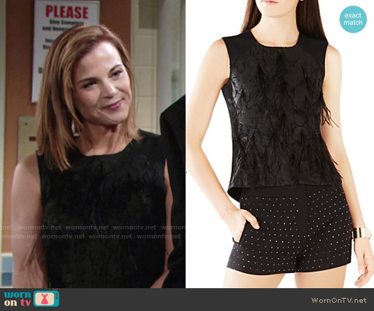 Bcbgmaxazria Cailin Feathered Top worn by Gina Tognoni on The Young & the Restless