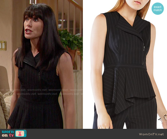 Bcbgmaxazria Carlynn Pinstripe Peplum Top worn by Rena Sofer on The Bold & the Beautiful