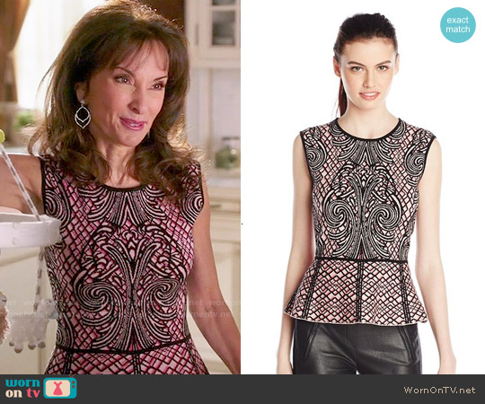 Bcbgmaxazria Collette Jacquard Peplum Top worn by Susan Lucci on Devious Maids