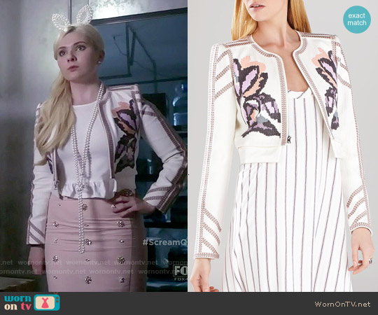 Bcbgmaxazria Duke Embroidered Jacket worn by Chanel #5 on Scream Queens