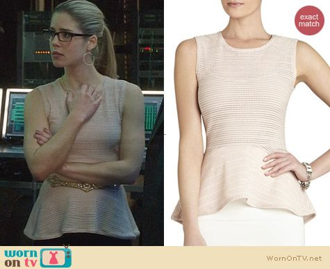 Bcbgmaxazria Evia Peplum Top worn by Emily Bett Rickards on Arrow