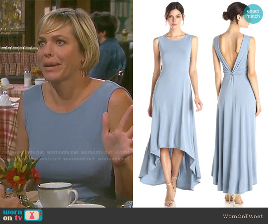 Bcbgmaxazria Fara Dress in Vintage Shadow Blue worn by Arianne Zucker on Days of our Lives