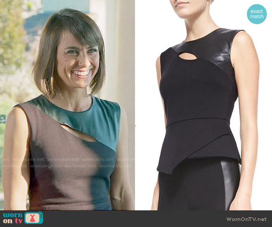 Bcbgmaxazria Farrah Leather and Ponte Peplum Top worn by Constance Zimmer on UnReal