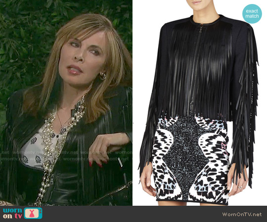 Bcbgmaxazria Farrell Fringe-Trim Jacket worn by Kate Roberts on Days of our Lives