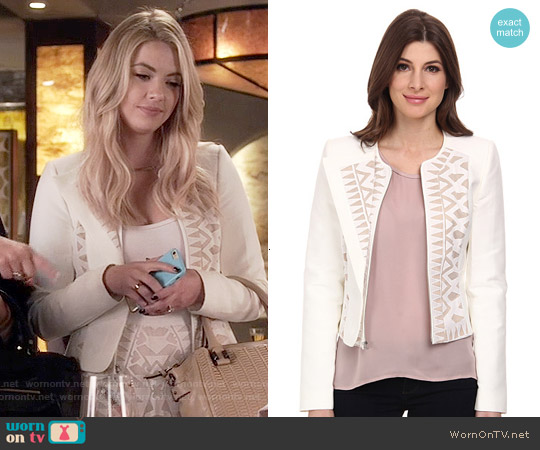 Bcbgmaxazria Floyd Lace Insert Jacket worn by Ashley Benson on PLL