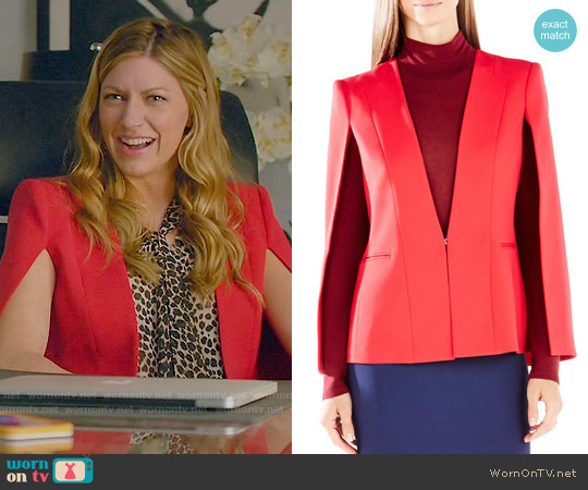 Bcbgmaxazria Frances Tuxedo Cape worn by Jes Macallan on Mistresses