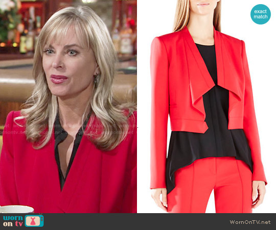 Bcbgmaxazria  'Franco' Jacket in Red worn by Eileen Davidson on The Young & the Restless