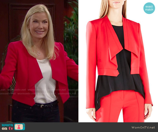 Bcbgmaxazria Franco Jacket in Red worn by Katherine Kelly Lang on The Bold & the Beautiful