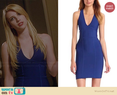 Wornontv Madison S Blue V Neck Dress On American Horror Story Emma Roberts Clothes And Wardrobe From Tv