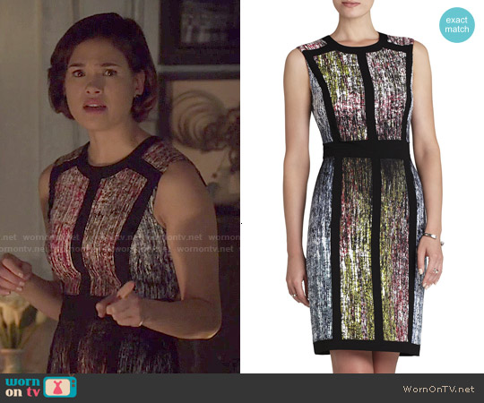 Bcbgmaxazria Gwenyth Sleeveless Print Blocked Sheath worn by Nicole Gale Anderson on Beauty & the Beast