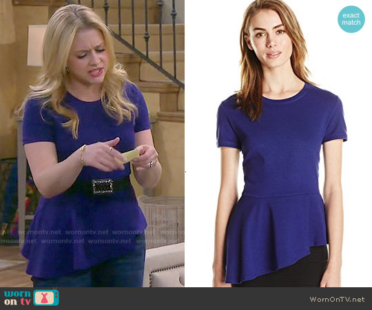 Bcbgmaxazria Harlee Top in Blue worn by Melissa Joan Hart on Melissa & Joey
