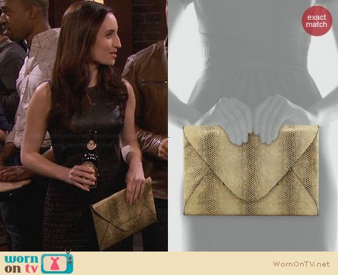 Bcbgmaxazria Snake Embossed Harlow Clutch worn by Zoe Lister Jones on FWBL