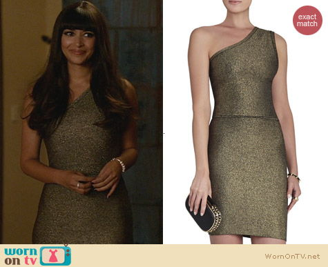 Bcbgmaxazria Inari One Shoulder Dress worn by Hannah Simone on New Girl